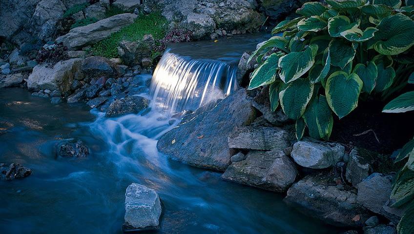 yard waterfall lights